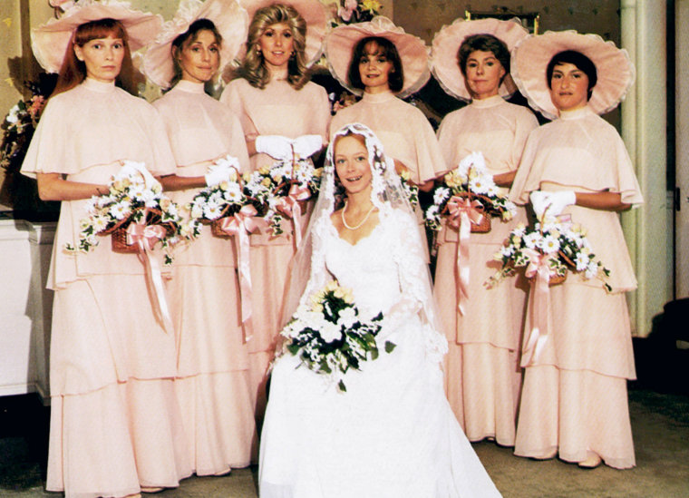 The most memorable bridesmaid dresses image a wedding amy stryker seated standing mia farrow junglespirit Image collections