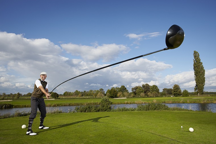 Karsten Maas - Longest Usable Golf Club  The longest golf club measures 14 ft x 5 inches length and was created and used by Karsten Maas from Denmark. The club was used to drive a ball over a distance of 542 ft 10.16 in at the Golf in Wall, in Wall, Germany.