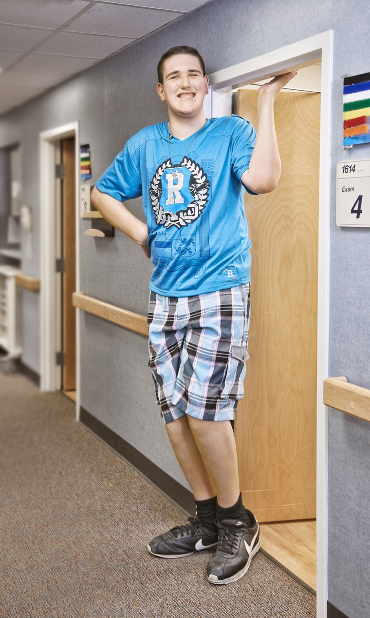 Broc Brown - Tallest Teenager The tallest male under the age of 18 years is Broc Brown born on April  14, 1997, and measured 7 ft 1.5 inches at the University of Michigan Family Medicine Clinic in Chelsea, Michigan.