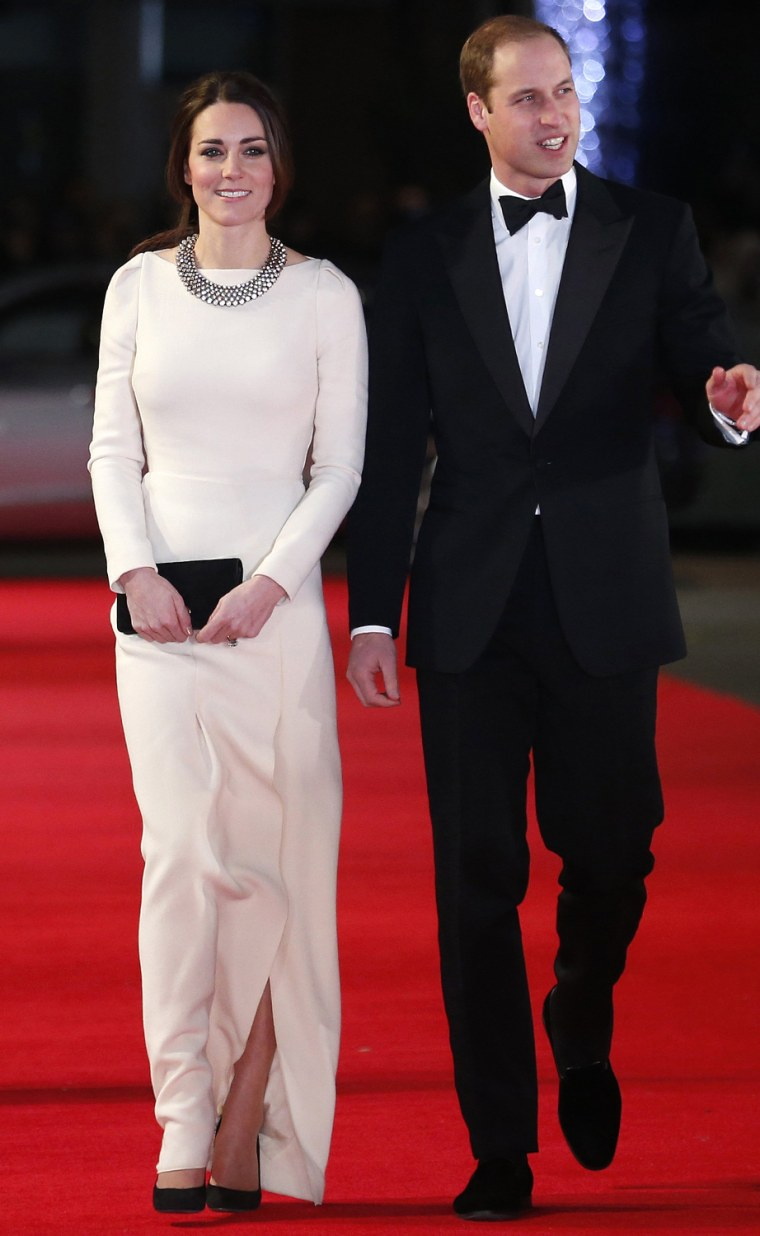 "Image: Britain's Prince William and his wife Catherine, the Duchess of Cambridge arrive for the Royal Premiere of ""Mandela: Long Walk to Freedom"" in London"