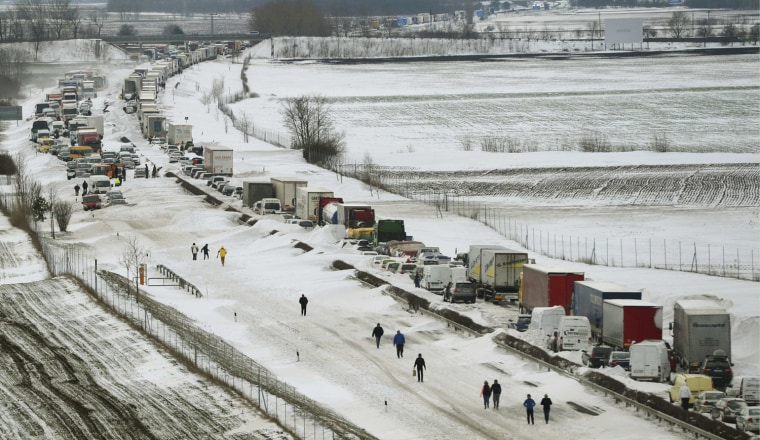 Image: Vehicles are seen at the M1 highway,  west of Budapest