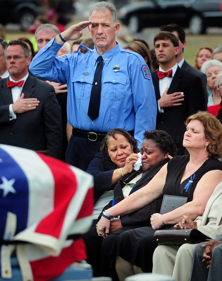 Image: Thousands Gather For Fallen Officer Sandy Rogers Funeral