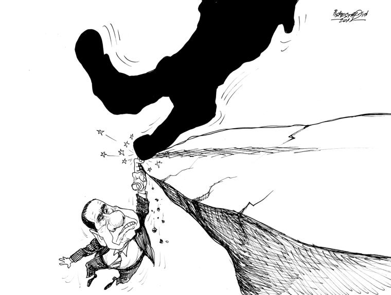 karikatur für tribüne-bis zu letzten finger
