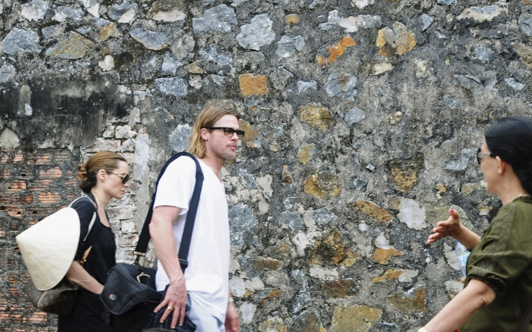 Image: Hollywood actor Brad Pitt and Angelina Jolie visit Con Dao prison, which also known as 'tiger cage' in Con Dao island, off Vietnam's southern coast