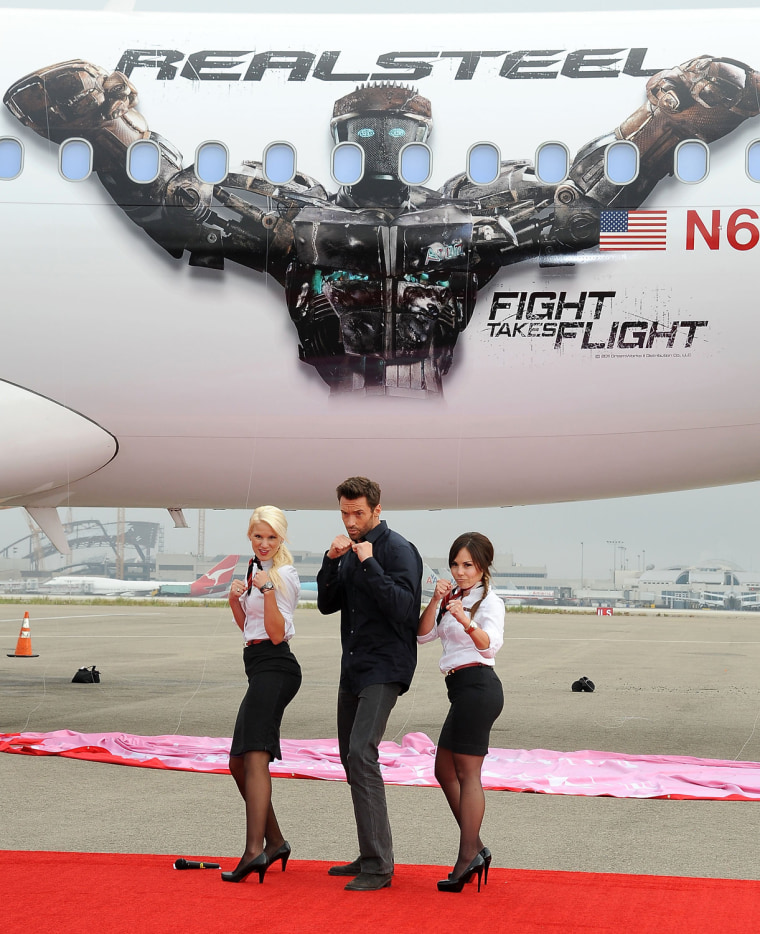 "Image: Virgin America Unveils DreamWorks Pictures' ""Real Steel"" Plane With Hugh Jackman"