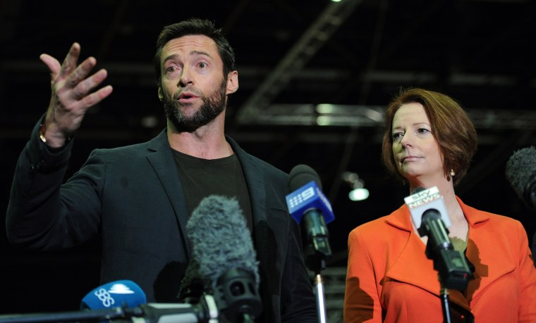 Actor Hugh Jackman (L) and Australian Pr