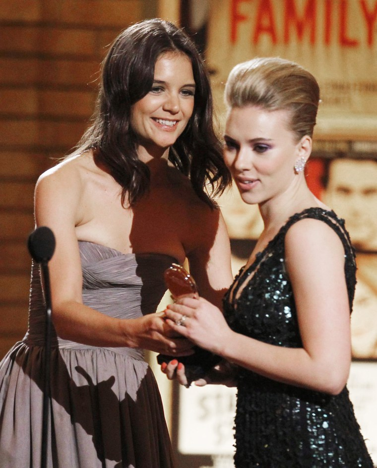 Image: Johansson accepts award from Holmes for Best Performance by a Featured Actress in a Play at 64th annual Tony Awards ceremony in New York