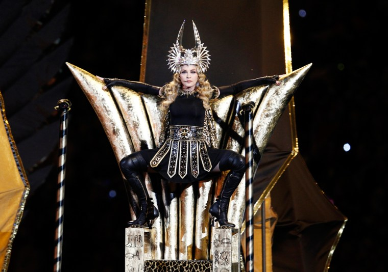 Image: Madonna performs during the halftime show in the NFL Super Bowl XLVI football game in Indianapolis