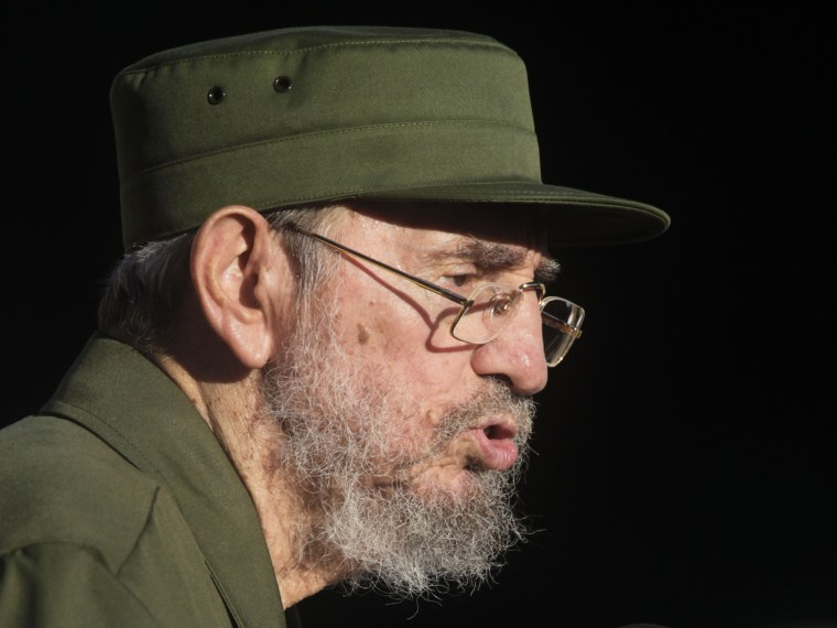 Image: Former Cuban leader Fidel Castro speaks during a meeting with students at Havana's University