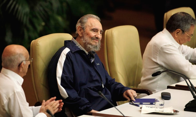 Image: Fidel Castro makes a surprise appearance at the 6th Communist Party Congress in Havana, Cuba