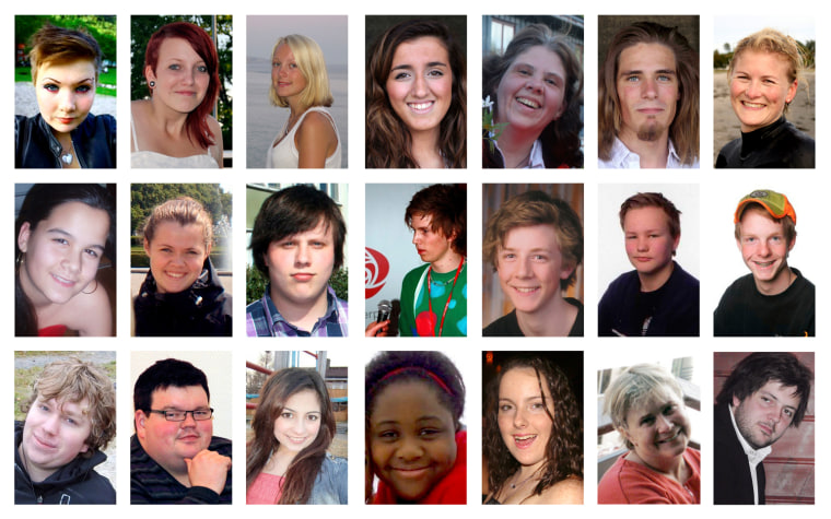 Image: A combination photo shows 21 of the 76 victims killed in the July 22 bomb attack in central Oslo and shooting rampage in Utoeya island