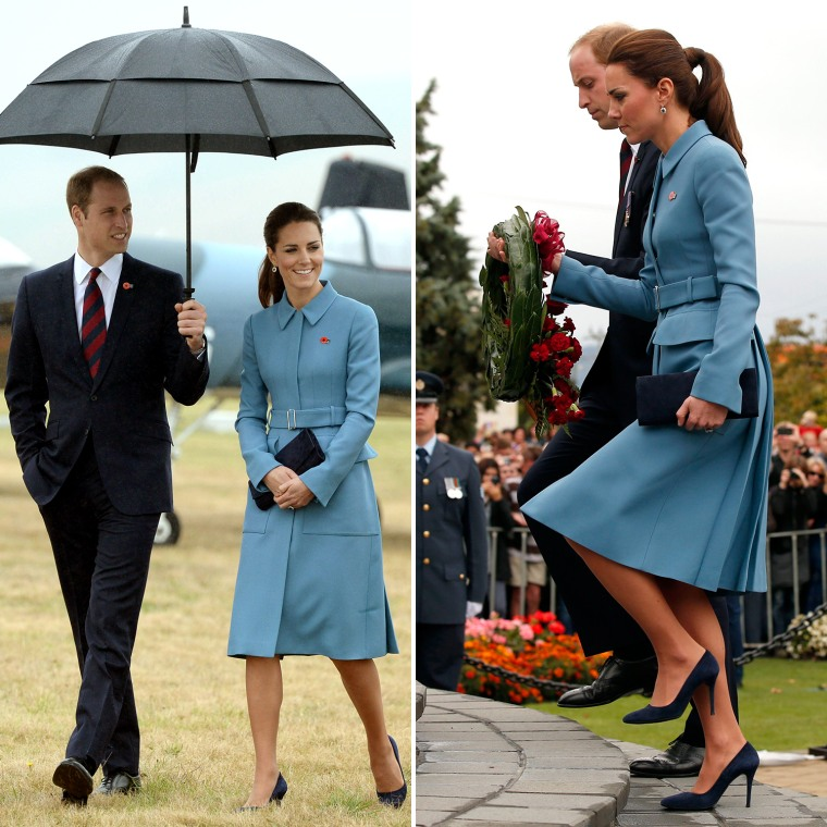 Britain's Catherine, Duchess of Cambridge and her husband  Prince William look at a static WWI display at the Omaka Aviation Heritage Centre near Blenheim, in New Zealand April 10, 2014. The Prince and his wife Kate are undertaking a 19-day official visit to New Zealand and Australia with their son George.  REUTERS/Anthony Devlin/Pool   (NEW ZEALAND - Tags: ROYALS ENTERTAINMENT SOCIETY)  BLENHEIM, NEW ZEALAND - APRIL 10: Prince William, Duke of Cambridge and Catherine, Duchess of Cambridge attend a ceremony at the war memorial in Seymour Square on April 10, 2014 in the town of Blenheim, New Zealand. The Duke and Duchess of Cambridge are on a three-week tour of Australia and New Zealand, the first official trip overseas with their son, Prince George of Cambridge. (Photo by Phil Noble-Pool/Getty Images)