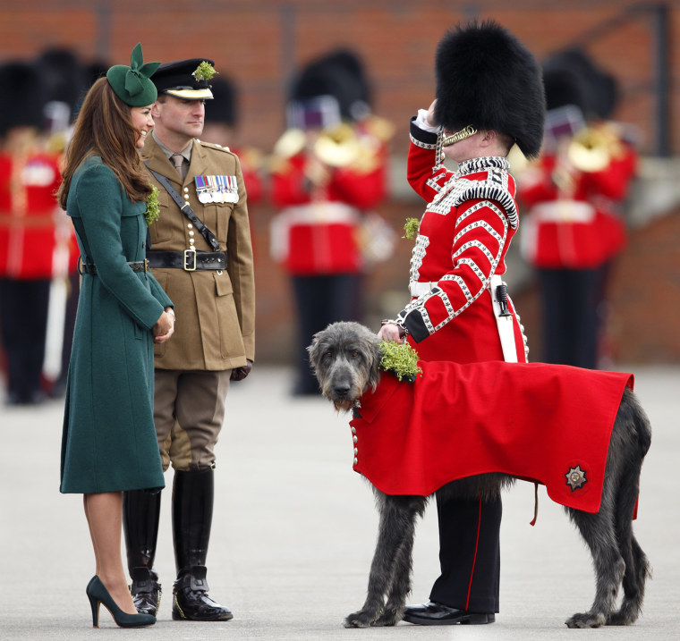 Image: The Duke And Duchess Of Cambridge Attend The St Patrick's Day Parade At Mons Barracks, Aldershot