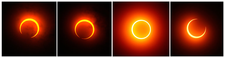 A combination photograph of the moon passing between the sun and the earth during an annular solar eclipse as seen from Bandar Lampung