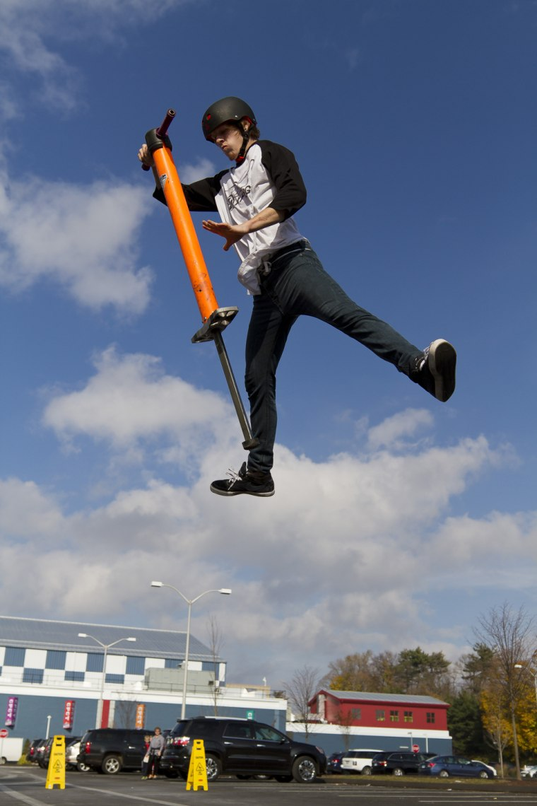 The record for the most Pogo Stick Jumps in One Minute is 265 achieved by Xpogo athlete Tone Staubs (USA) at Chelsea Piers, Stamford, Connecticut, USA to celebrate Guinness World Records Day 2012.
