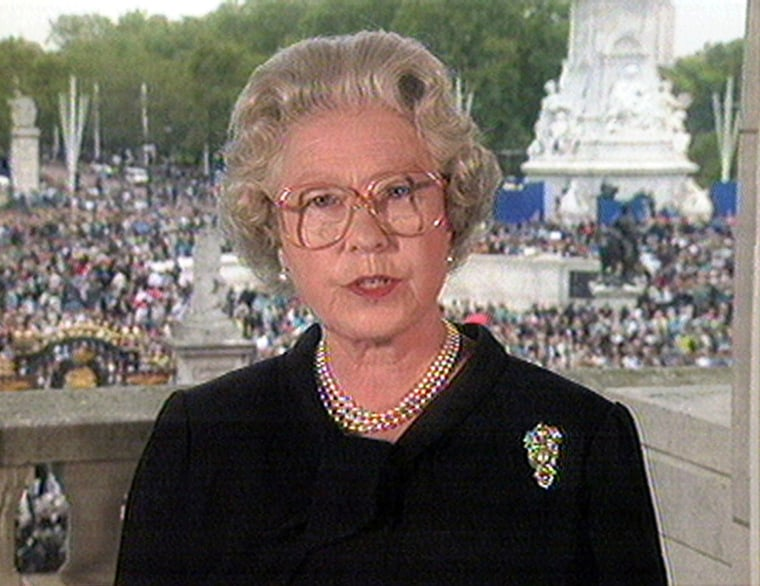 """Britain's Queen Elizabeth II, seen in this image made from television speaking from London's Buckingham Palace, Friday Sept. 5 1997 pays tribute to Diana, Princess of Wales as an """"Exceptional and gifted human being."""" Princess Diana was killed in a car crash in Paris on Aug. 31. Her funeral will take place at London's Westminster Abbey on Saturday. (AP Photo)"""
