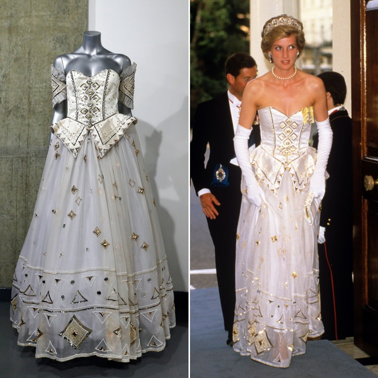 A 1986 Emanuel ball gown worn by late Princess Diana is displayed on a mannequin during an auction in London, Tuesday, Dec. 3, 2013. According to the auction house, Diana wore the gown with gold sequins, crystals and pearl beads comes with matching headband, optional sleeve panels and petticoat, in various occasions. (AP Photo/Lefteris Pitarakis)  Mandatory Credit: Photo by Today/REX USA (105461a) PRINCESS DIANA Richard Von Weizsacker state visit, banquet at the German Ambassador's residence, London, Britain - Jul 1986