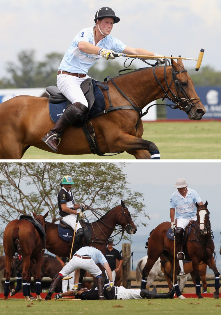 SAO PAULO, BRAZIL - MARCH 11:  Prince Harry plays polo for the Sentebale team at the Sentebale Royal Salute Polo Cup 2012 on March 11th, 2012 in Campinas, Sao Paulo State, Brazil. The 2012 Sentebale Royal Salute Polo Cup closes Prince Harry's Official Tour of Brazil. Sentebale was founded by Prince Harry and Prince Seeiso from the Lesotho Royal family in response to the plight of the neediest and most vulnerable of Lesotho's children.  (Photo by Chris Jackson/Getty Images For Sentebale Royal Salute)  Britain's Prince Harry (bottom L) helps a competitor, Bash Kazi of Pakistan, who fell off his horse while participating in the Sentebale Polo Cup in Campinas, Brazil March 11, 2012. The Prince is on the final day of a three-day official tour of Brazil on behalf of the British Foreign and Commonwealth Office. REUTERS/Suzanne Plunkett (BRAZIL - Tags: ROYALS POLITICS SPORT ENTERTAINMENT)