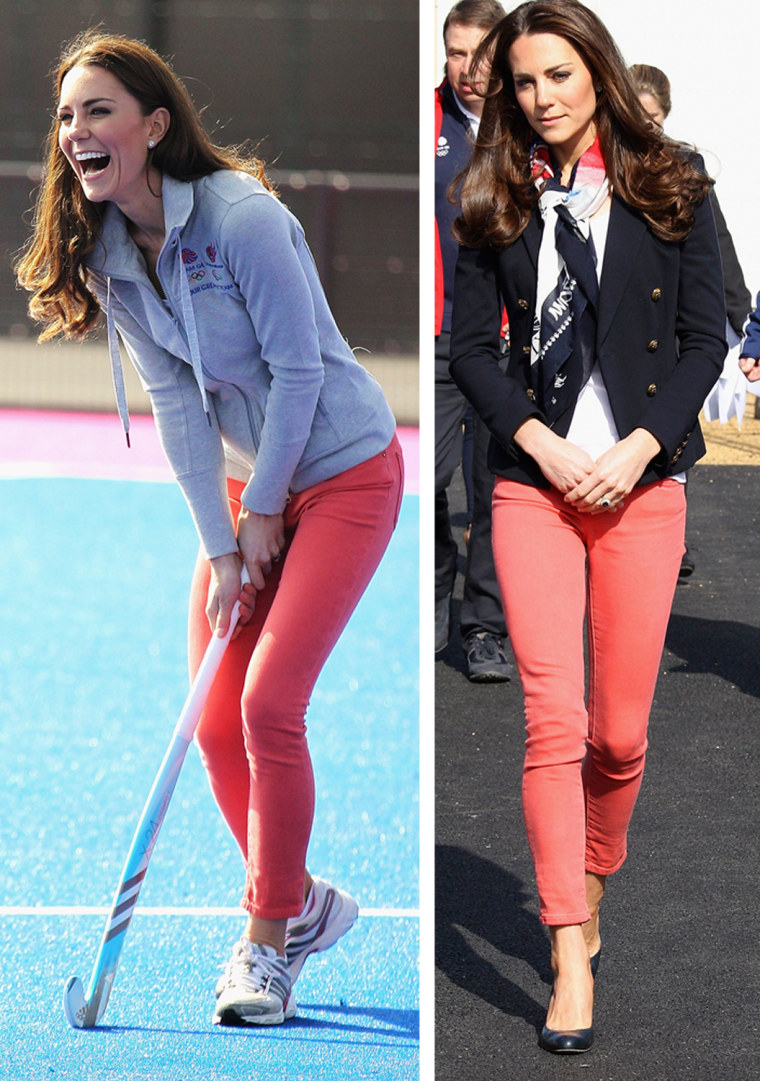 Catherine, Duchess of Cambridge plays hockey with the GB hockey teams at the Riverside Arena in the Olympic Park on March 15, 2012 in London, England. The Duchess of Cambridge viewed the Olympic park as well as meeting members of the men's and women's GB Hockey teams.  Britain's Catherine, Duchess of Cambridge wears the Team GB official supporter's scarf for London 2012, during her visit to the Olympic Park in London March 15, 2012.