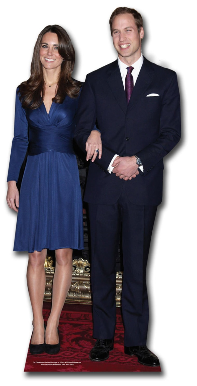 Prince William and Kate Middleton (Royal Wedding 2011) Lifesize Cardboard Cutout / Standee Price:£29.99  Product Description On Friday 29th April 2011 Prince William will marry Kate Middleton at Westminster Abbey.  To celebrate the Royal Wedding, you can now purchase this stunning commemorative lifesize cardboard cutout of the beautiful couple!  This lifesize cardboard cutout of Prince William and Kate Middleton measures approximately 180cm high and is sure to turn heads and wow visitors in equal measure!  All cutouts are designed to be self supporting and are assembled within seconds. Alternatively it is possible to leave the supports flat and wall mount the standee as you wish. All lifesize standups fold down for easy storage