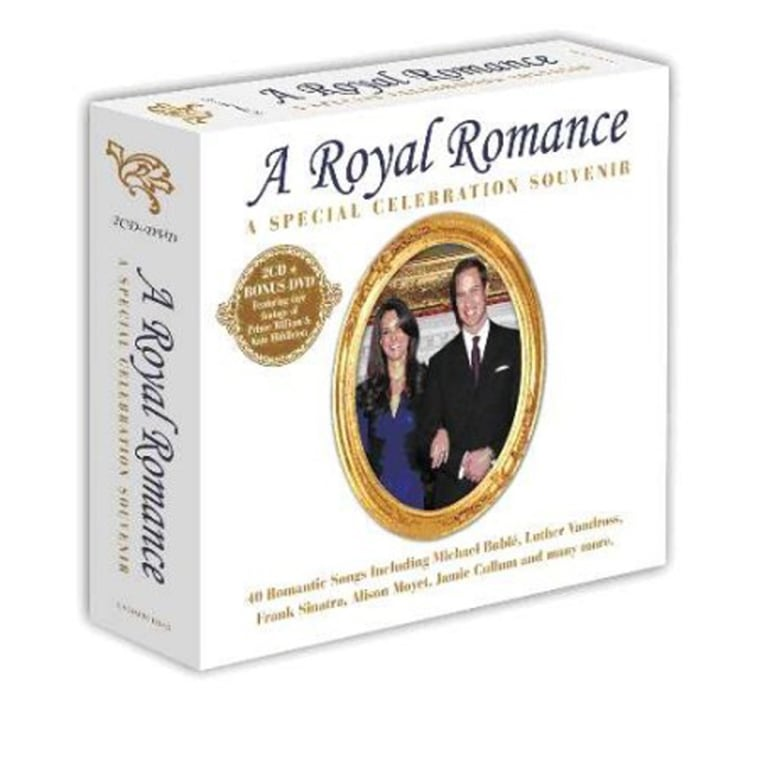 Royal Romance Soundtrack CD  2011 three disc (two CDs  PAL/Region 0 DVD). A beautiful collection of nostalgic and contemporary songs fit for a future king. Released to coincide with the Royal Wedding on Friday April 29th, 2011. This timeless album includes some of the ...    Full Descriptiongreatest romantic songs on a fantastic deluxe double album. Including a bonus DVD containing 60 minutes of rare and unseen footage of the happy couple. This top quality package will take you on a nostalgic trip down memory lane with over three hours of content offering great value.