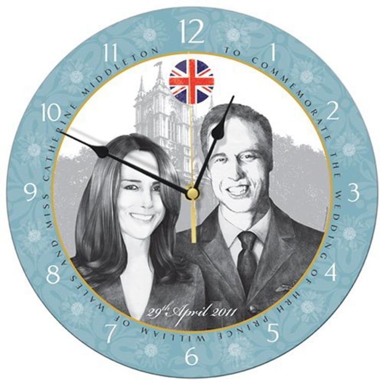 William and Kate Royal Wedding Commemorative Wall Clock   Price: £19.99   Decorative wall clock to commemorate the wedding of HRH Prince William of Wales and Miss Catherine (Kate) Middleton on 29th April 2011. Beautifully illustrated with an original drawing depicting Catherine and William in front of Westminster Abbey, the venue for their Royal Wedding.