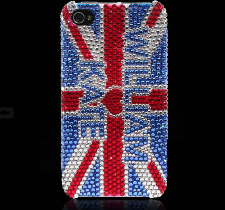 """""""Union Jack"""" Case This whimsical variation of the classic Union Jack places Will and Kate at the center of attention and the Kingdom. Bright and beautiful, it's sure to capture eyes and hearts. * All cases are handmade with 100% authentic Swarovski crystals. Please note that these are for decorative purposes and are not meant to be used as protective cases. Please handle with care. Free shipping worldwide via DHL. Phone cases will be shipped out after April 5, 2011. Price US $220.00"""