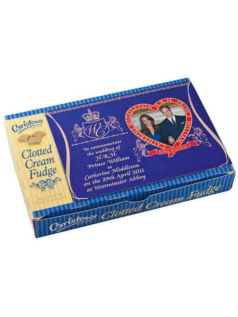 Bristows Royal Wedding Clotted Cream Fudge  royal wedding commemorative gift box of clotted cream fudge. Box of 150gm wrapped fudge.Great gift for relatives abroad.