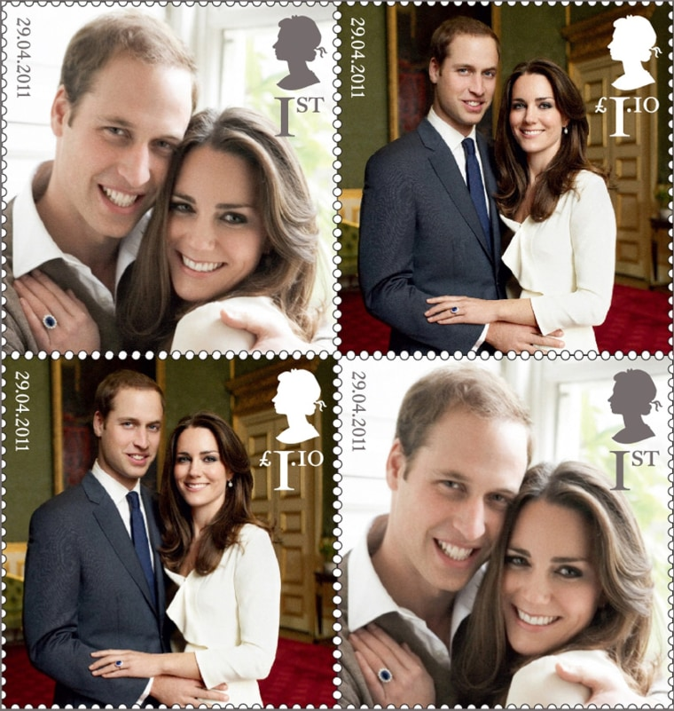 Image: EMBARGOED TO 0001BST MARCH 29 - A set of commemorative stamps, to celebrate the wedding of Britain's Prince William and Kate Middleton, is seen in this photograph received in London