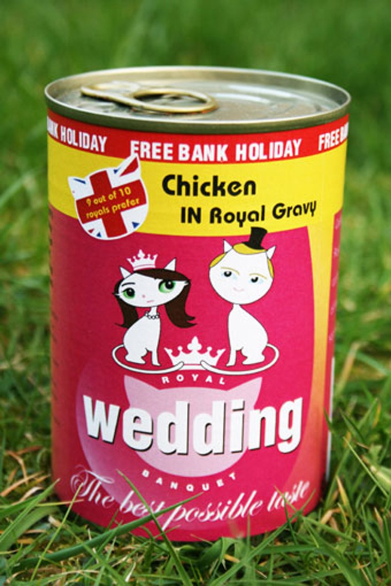 Royal Wedding Organic Cat Food is real, not virtual like the 3D tins produced in the Cat Food Factory and is exceptionally high quality.   all organic cat food contains no genetically modified organisms (GMOs) no use of herbicides and pesticides during vegetable cultivation no use of hormones in animal breeding and raising no sugar or dairy additives no artificial colours, aromas, or flavours preserved using only minerals and vitamins Each tin is uniquely numbered.  £4 each Plus £2.50 UK post and packing per tin