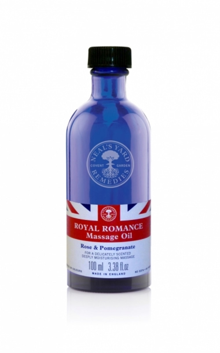 Royal Romance Massage Oil LIMITED EDITION  Royal Romance Massage Oil  Rose & Pomegranate   Enjoy your own Royal Romance as you celebrate the marriage of Prince William and Catherine Middleton. Our delicately scented, deeply moisturising massage oil is a heavenly blend of damask rose, pomegranate, cedarwood and bergamot essential oils in a base of skin-nourishing organic marula, apricot kernel, sunflower and soya oils.   Code: 1329 Availability: Currently in stock  Click here to ask a question about this product   £15.50 / 100ml