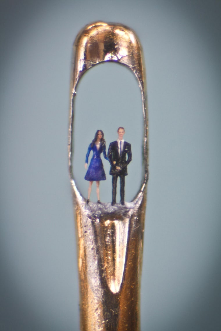 Image: Kate and William in the eye of a needle