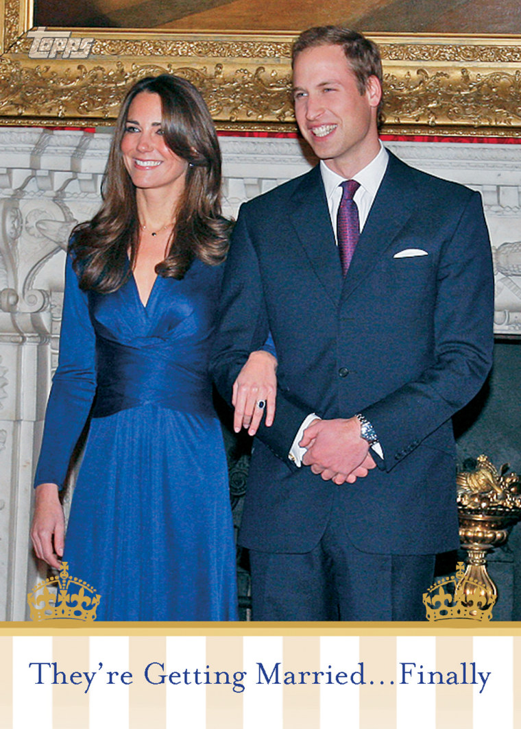 """The royal wedding of Prince William and Kate Middleton isn't exactly a sporting event, but that's not stopping Topps from getting into the action on trading cards and injecting it into a baseball card set that arrives this week.  Topps You can celebrate the Royal Wedding by acquiring these trading cards.Collectors who rip into packs of the 2011 Gypsy Queen baseball cards when it arrives Wednesday just might find a """"Royal Jewels"""" card noting Friday's big event. Gypsy Queen is modeled after an 1880s baseball card set and will include unusual bonus cards of various jewels and gems treasured by gypsies as much as baseball cards are by collectors today. (Don't worry, we're scratching our heads on that one, too …)  But the real action comes on the QVC home-shopping channel on Friday when Topps' 50-card """"The Royal Wedding"""" card set goes on sale on the air.   The $20 set will include various cards of the royal couple as well as Princess Diana, Prince Charles Queen Elizabeth II and, of course, even a card of the engagement ring.  There might be a sports star somewhere in the set after all. Soccer star David Beckham was on the invitations list."""