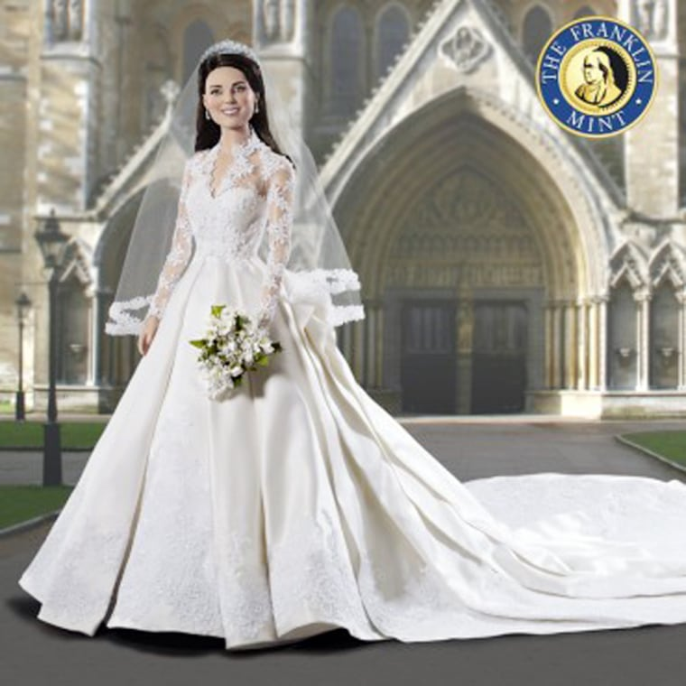 Kate Middleton Royal Wedding Vinyl Doll $295.00  Regal Splendor.....Amazing Grace.....Classic Beauty......and a new Princess has been born. On April 29, 2011, as Kate Middleton became Her Royal Highness, the world watched in amazement with the graceful elegance she displayed during that memorable ride to Westminster Abbey and walk down the aisle to marry her Prince.   The Franklin Mint has now captured that magically majestic moment forever with The Kate Middleton Royal Bridal Doll. And because you are one of our most cherished collectors, YOU are the first to see this commemorative doll, in all her splendor and detail.   Nothing has been overlooked. From the sparkling Scroll Tiara loaned to her by the Queen, first presented to the Queen Mother by George the VI in 1936 to the delicately hand-applied floral laces on her bodice to the amazing satin train, every element defining those precious moments in time can now be yours. She even wears both rings; the sapphire engagement in the hand holding her lovely bouquet and her new wedding band, securely fit on her left.   While no one will likely forget the magnificence of that royal day, own the definitive commemorative that will keep that memory alive for years to come. Be among the first to own this unbelievably beautiful commemorative of the Wedding of the Century.   Pre-Order your doll now. Estimated ship date: Summer 2011. .SKU B11G665   Be the first to review this product.  .