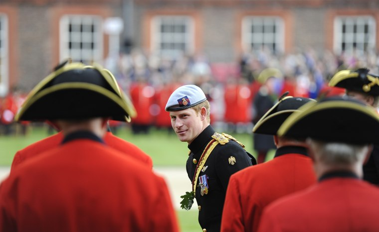 Image: Britain's Prince Harry inspects Chelsea Pensioners at the Margaret Thatcher Infirmary at the Royal Hospital Chelsea in London