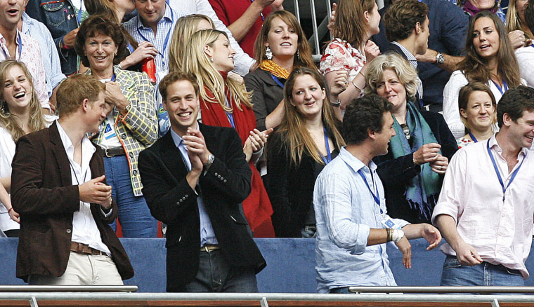 Prince Harry (L) and Prince William (2nd