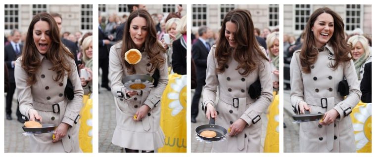 Image: Combination photo shows the fiancee of Britain's Prince William, Kate Middleton, flipping a pancake in Belfast