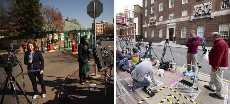 Image: Members of the news media gather outside the Mediclinic Heart Hospital in Pretoria where Nelson Mandela is undergoing treatment, left, and outside Saint Mary's Hospital in west London, right, where the royal baby is expected to be born.