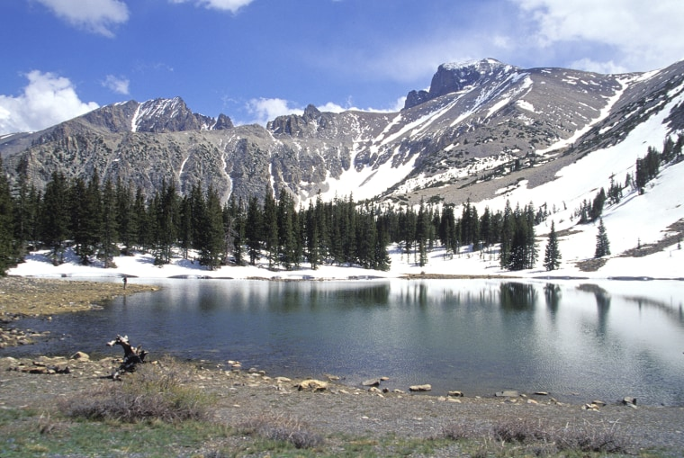 Image: Nevada, Great Basin National Park, Woman On Standing On Shore Of Stella Lake.