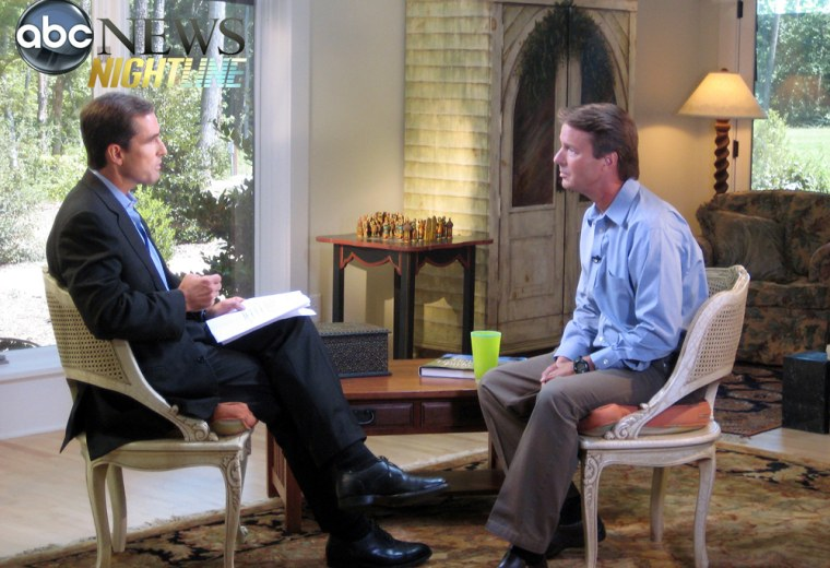 In this image taken from video and released by ABC News, Bob Woodruff interviews John Edwards Friday, Aug. 8, 2008 in Chapel Hill, N.C. The former North Carolina senator, who was the Democratic vice presidential nominee in 2004, confessed to ABC News that he had lied repeatedly about the affair with 42-year-old Rielle Hunter. (AP Photo/ABC News)  ** NO SALES **