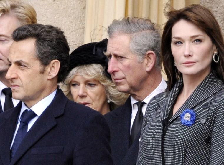 Nicolas Sarkozy, Carla Bruni-Sarkozy, Francois Fillon, Prince Charles, Camilla