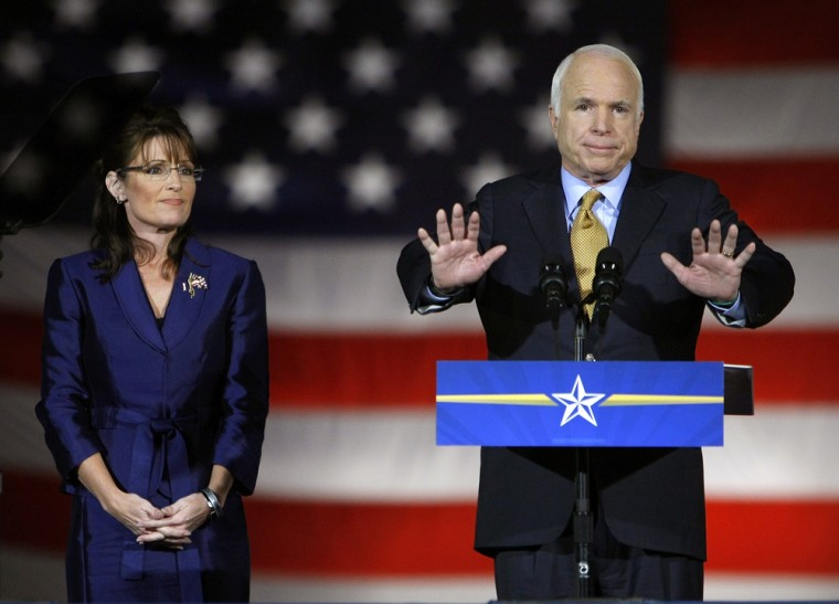 U.S Republican presidential nominee Senator John McCain speaks to the crowd during his election night rally in Phoenix