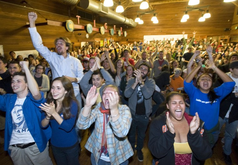 In this undated photo released by Occidental College, Occidental College students celebrate in Samuelson Campus Pavilion on the Eagle Rock campus in Los Angeles, Calif., as Occidental College alumnus Barack Obama is officially announced the 44th president of the United States on Nov. 4, 2008. (AP Photo/Marc Campos, Occidental College) ** NO SALES **