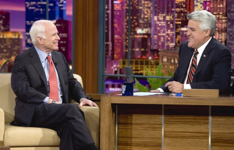 """Sen. John McCain appeared on """"The Tonight Show"""" on Nov. 11, 2008. It was McCain's first public appearance since losing the presidential election to Barack Obama on Nov. 4."""