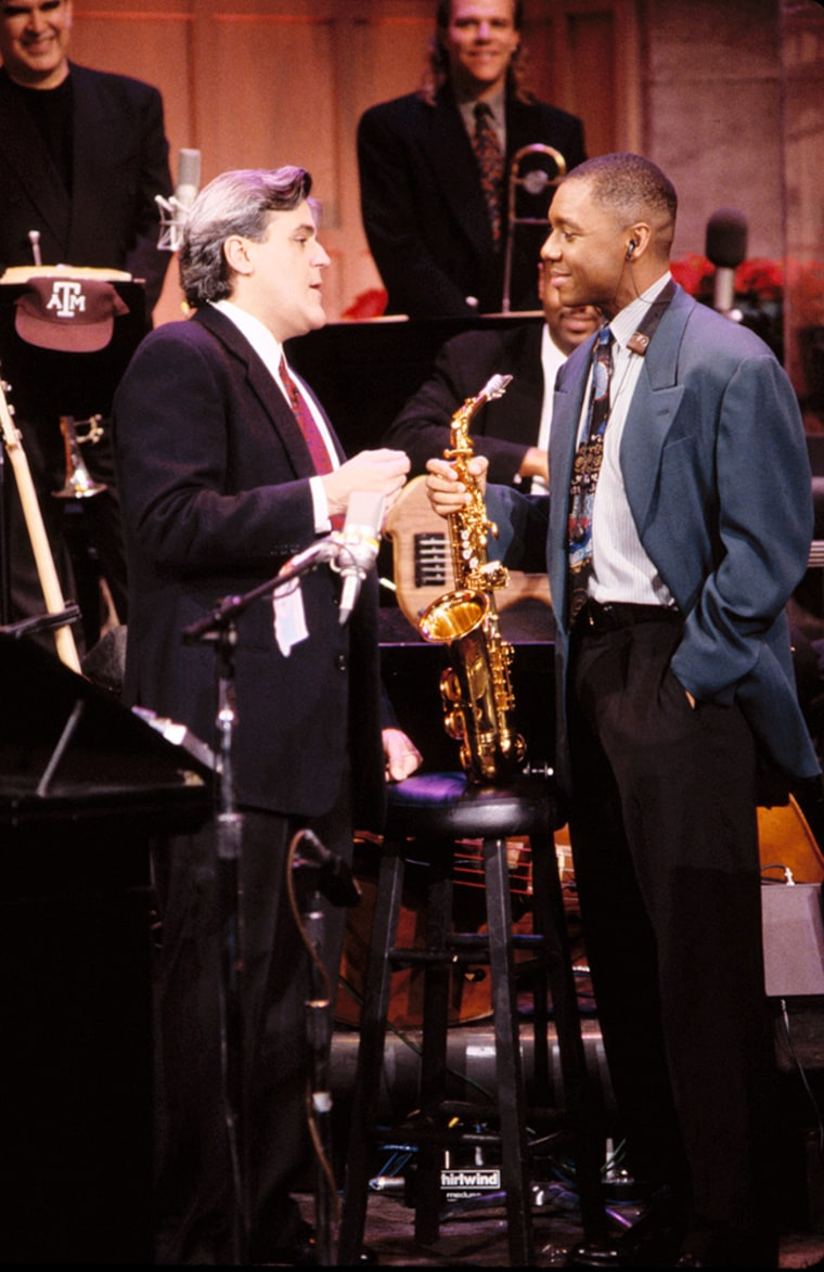 """Jazz great Branford Marsalis, right, served as musical director during Leno's first three years as """"Tonight"""" host. Marsalis left the show in 1995."""