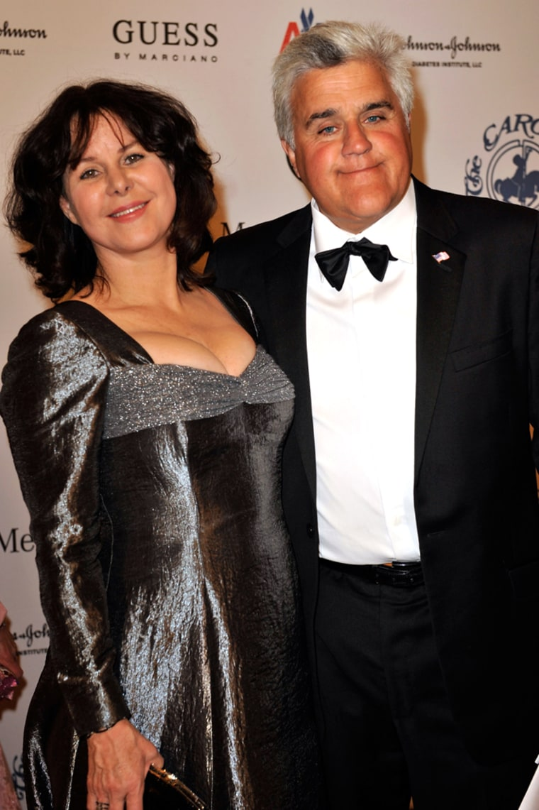 Leno and wife Mavis pose during the cocktail reception at the 30th anniversary Carousel of Hope Ball to benefit the Barbara Davis center for childhood diabetes on Oct. 25, 2008, in Beverly Hills, Calif. The couple married in 1980.