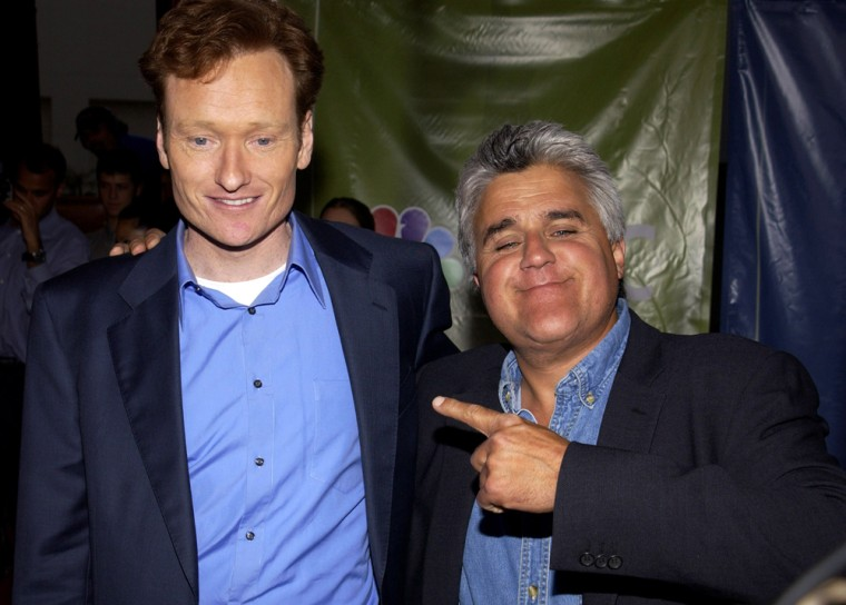"""In 2004, it was announced that Conan O'Brien, left, would succeed Leno as host of """"The Tonight Show."""" Leno's last show as """"Tonight"""" host was May 29, 2009."""