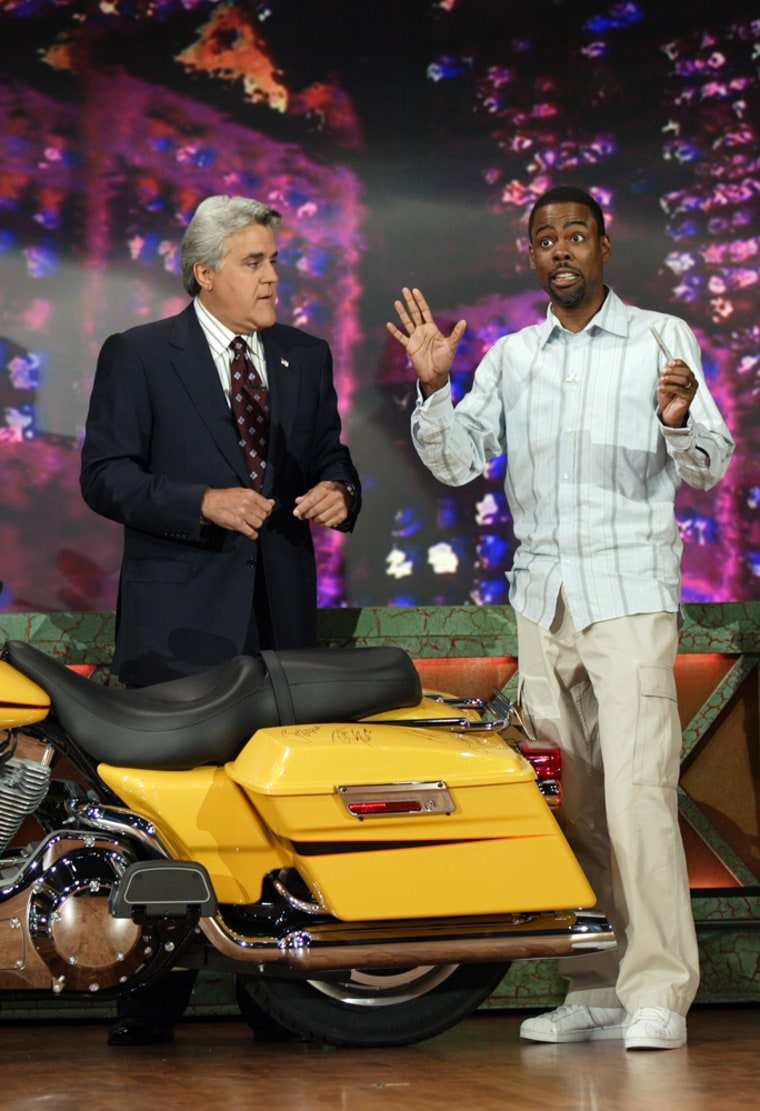"""Chris Rock appeared on """"The Tonight Show"""" on Sept. 9, 2005, to sign a Harley-Davidson motorcycle that Leno was using to raise money for the victims of Hurricane Katrina. The motorcycle, which was auctioned on eBay, sold for $1.5 million."""