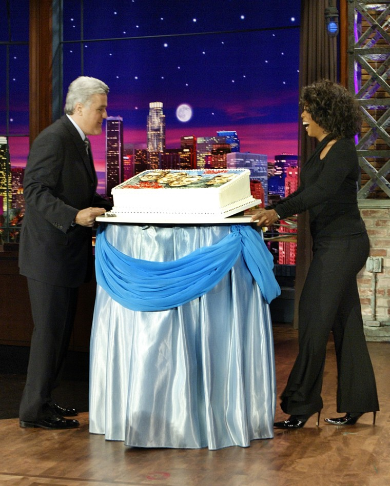 """Oprah Winfrey came to Burbank to help Leno celebrate the 50th anniversary of """"The Tonight Show"""" with a cake commemorating its hosts from past and present."""