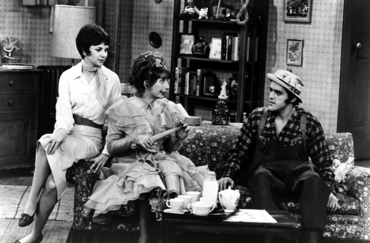 """Leno made a guest appearance on """"Laverne and Shirley"""" in 1979, working alongside series stars Cindy Williams, left, and Penny Marshall."""
